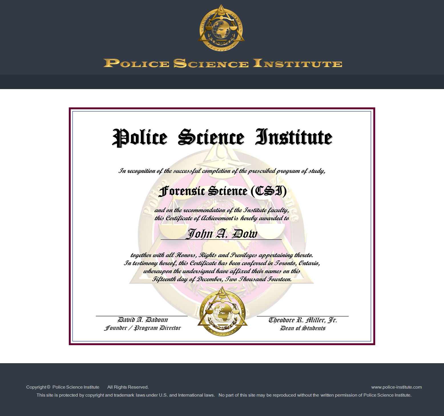Forensic Science Course At Police Science Institute