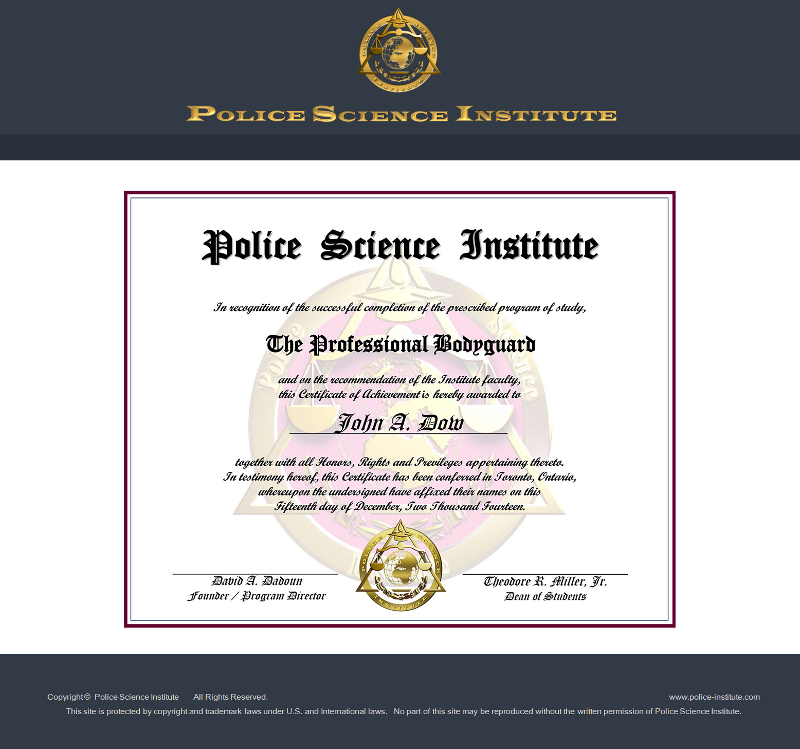 vip protection training courses at police science institute